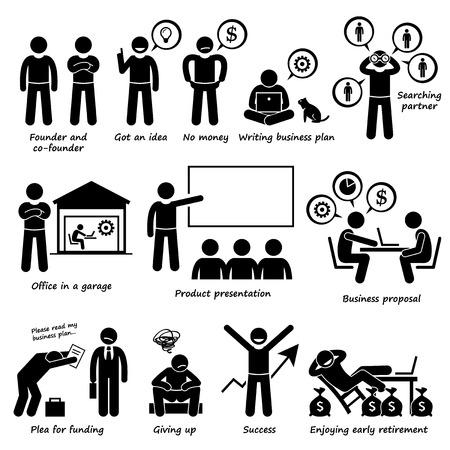 Przedsiębiorca Tworzenie Uruchomienie działalności firmy Piktogram Ilustracje wektorowe