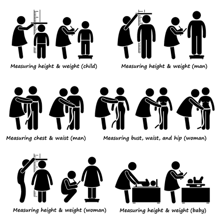 아기, 어린이, 여성 및 남성의 신체 신장, 체중 및 크기 측정