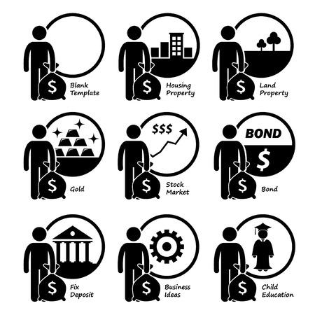 venture: Investor Investing Investment in Housing, Land, Gold, Stock Market, Bond, Business Venture, and Children Education Illustration