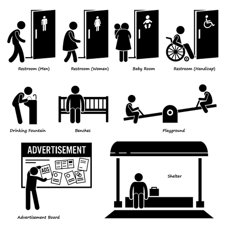 amenities: Public Amenities and Facilities such as Toilet, Drinking Fountain, Benches, Playground, Advertisement Board, and Shelter