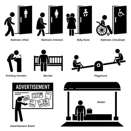 Publieke voorzieningen en faciliteiten, zoals toilet, Drinken Fontein, Bankjes, Speeltuin, Advertentie Board, en Schuilplaats