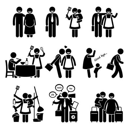 daily routine: Feliz marido Familia y esposa estilo de vida ocupado rutina diaria Vectores