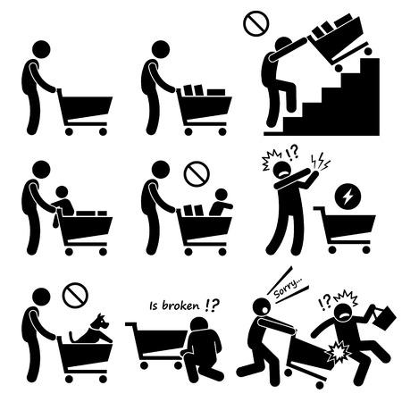 niño empujando: Compras Trolley hacer y no Vectores