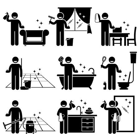 pictogramme: Man lavage et de nettoyage maison canapé, fenêtres, meubles en bois, sol, baignoire, cuvette des toilettes, cuisine, et un miroir à la maison.