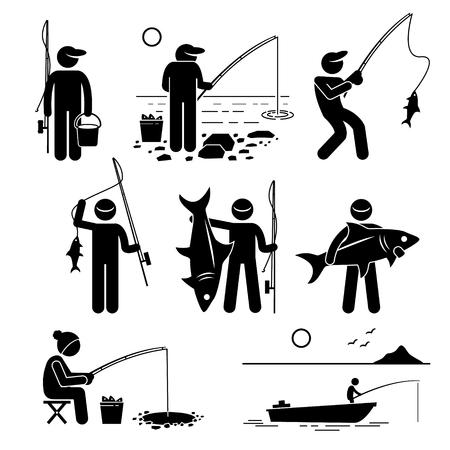 pesca: Hombre pescando peces grandes y pequeños en el río, el lago, el hielo y el mar con pequeña embarcación de recreo. Vectores