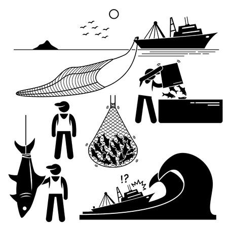 hombre pescando: Pescador trabajando en la industria de la pesca a nivel industrial en gran barco barco.