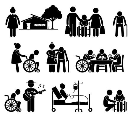 strichmännchen: Altenpflege Krankenpflege Altersheim Pensionierung Center Piktogramm
