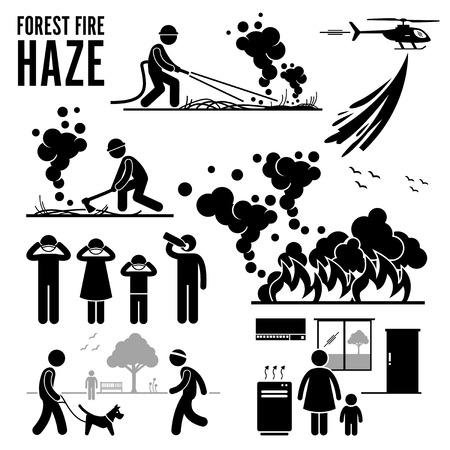 incendio bosco: Incendio boschivo e Haze Problemi Pittogramma
