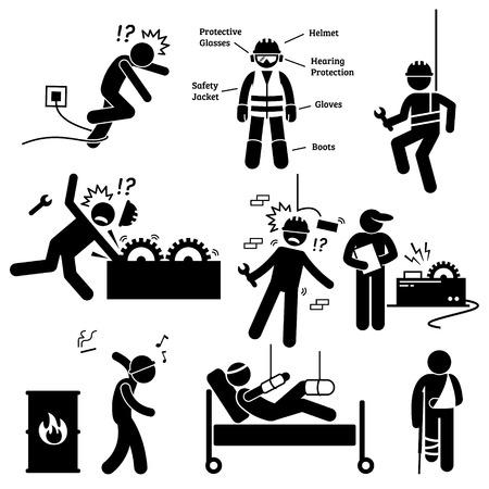 protección: Seguridad y Salud Ocupacional Trabajador de Peligro de Accidente Pictograma Vectores