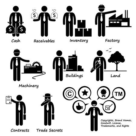 会社事業資産ピクトグラム  イラスト・ベクター素材