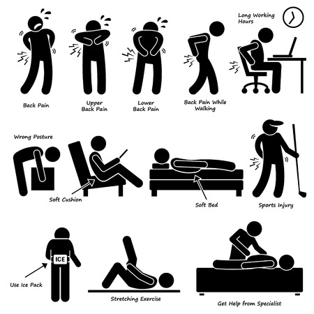 personas de espalda: Dolor de espalda Dolor de espalda Pictograma Vectores