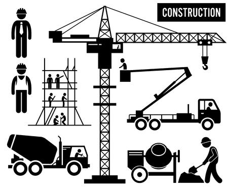 strichmännchen: Bauunternehmen Gerüstbau Turmdrehkran Mixer Truck Sky Lift Heavy Industry Piktogramm
