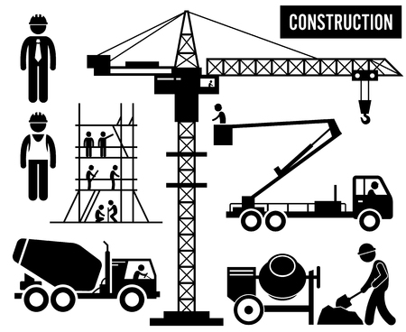 building site: Construction Scaffolding Tower Crane Mixer Truck Sky Lift Heavy Industry Pictogram Illustration