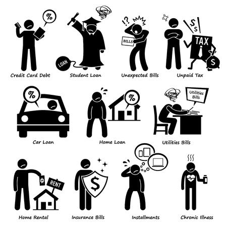 strichmännchen: Persönliche Schulden - Schulden, Darlehen, Rechnungen, Steuern, Vermietung, Raten und Medical Zahlung von Strichmännchen-Piktogramm Icons Illustration