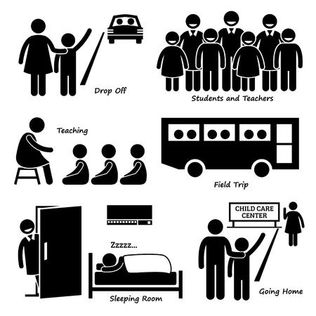 pictogramme: Centre Garderie d'enfants pour les élèves du primaire pictogrammes Icons Illustration