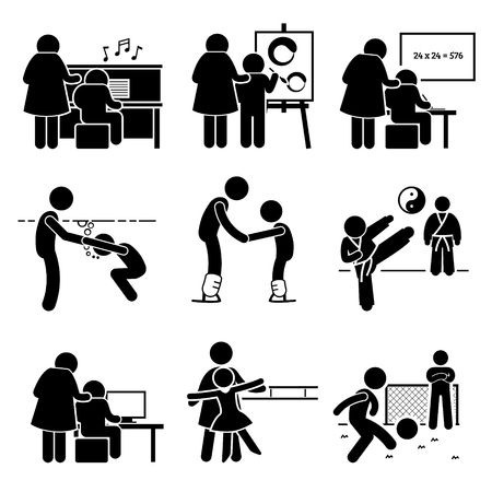 Student Learning Music, Art, Academic, Swimming, Martial Arts, Football, Computer, Dancing, and Ice Skating Lesson from Mentor Pictogram Vettoriali