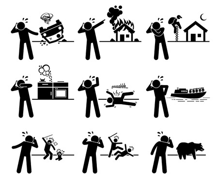 Man Calling chiamata di soccorso con il telefono per Incidente stradale, incendio, furto, perdita del gas, Veleno, Medicina problema, Guardia costiera, Abuso di minore, violenza, e Controllo degli animali Aiuto Archivio Fotografico - 47245582