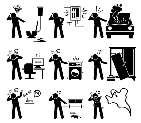 Man Calling with Phone for Household Problems - Plumbing, Electricity, Car, Computer, Electrical, Furniture, Internet, Pest, and Ghost Stock Illustratie