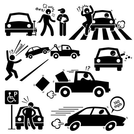 나쁜 자동차 드라이버 분노 운전 픽토그램