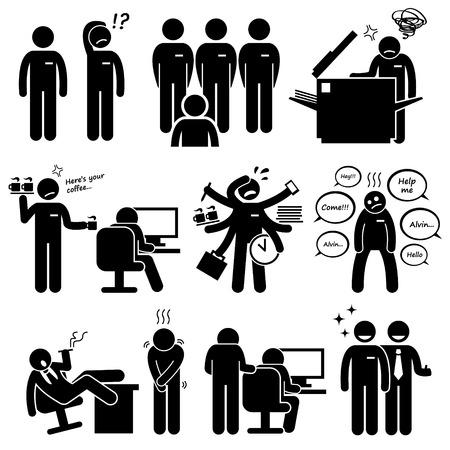 acoso laboral: Intern prácticas del personal nuevo empleado en la oficina Workplace Pictograma Vectores