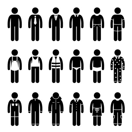 Clothes Clothing Attire for Different Occasions, Time, and Activity Pictogram Vettoriali