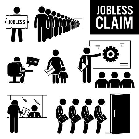 apoyo social: Peticiones de desempleo Desempleo Beneficios Figura Stick Pictograma Iconos Vectores