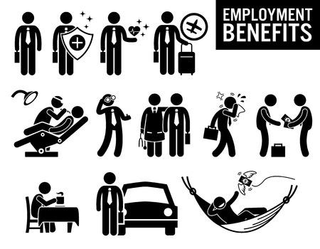 seguridad en el trabajo: Beneficios del Trabajador Empleo Trabajo Figura Stick Pictograma Iconos