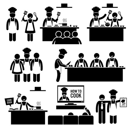 chef kitchen: Cooking Class Chef Cook Stick Figure Pictogram Icons