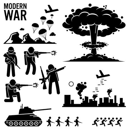 wojenne: War Modern Warfare Nuclear Bomb Żołnierz Tank Attack Stick Figure Piktogram ikony Ilustracja