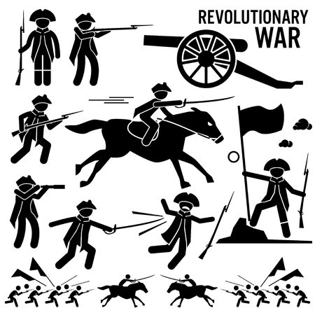 military silhouettes: Revolutionary War Soldier Horse Gun Sword Fight Independence Day Patriotic Stick Figure Pictogram Icons