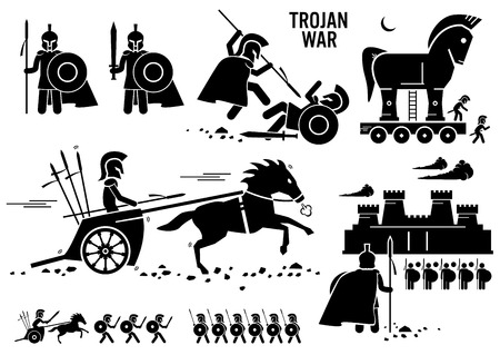 the warrior: Trojan War Horse griega Roma Guerrero Troy Esparta Spartan Figura Stick Pictograma Iconos Vectores