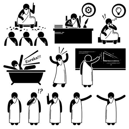 enseñanza: Griego antiguo filósofo científico Old Man Figura Stick Pictograma Iconos Vectores