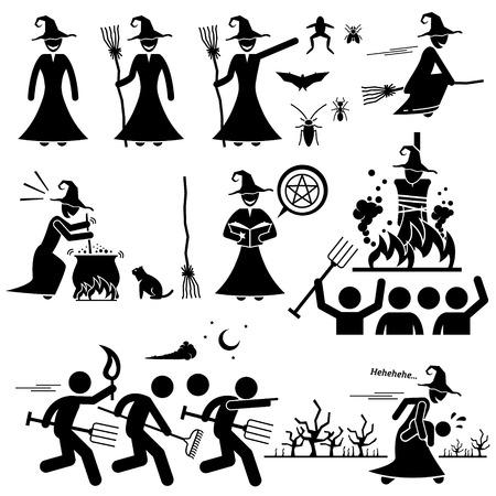 brujas caricatura: Evil Witch Hunt Brujería Negro Mágico Figura Stick Pictograma Iconos Vectores