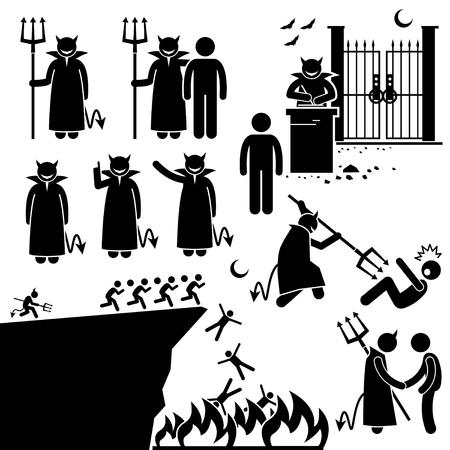 satan: Teufel-Dämon Satan Hölle Unterstrichmännchen-Piktogramm Icons Illustration
