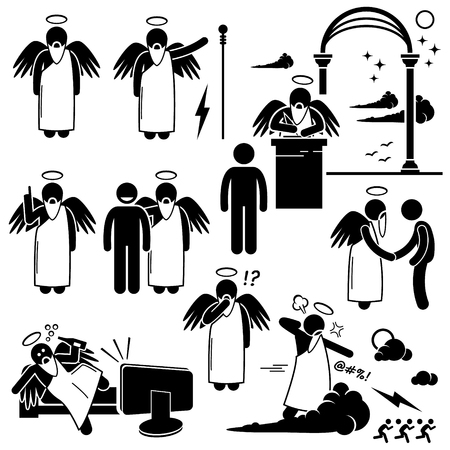 heaven: God Angel Heaven Paradise Stick Figure Pictogram Icons