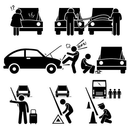 silhouette voiture: Fixant une panne de voiture est tombée en panne en bordure de route réparation Stick Figure pictogrammes Icônes Illustration