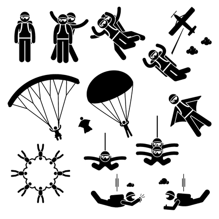 Skydiving skydives Skydiver Parachute Wingsuit Freefall Freefly Stick Figure Volledig Icons Stock Illustratie