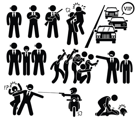 bullet icon: Bodyguard Protecting VIP Boss From Paparazzi and Killer Stick Figure Pictogram Icons