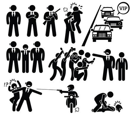 La protección de guardaespaldas VIP jefe de los paparazzi y Killer Figura Stick pictograma Iconos Foto de archivo - 50581394