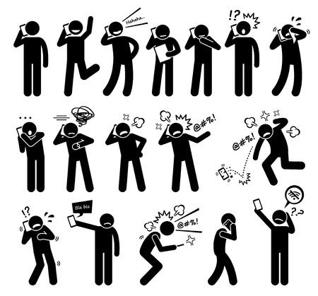 hablando por telefono: Expresiones Sentimientos Emociones mientras habla por un teléfono celular Figura Stick pictograma Iconos Vectores