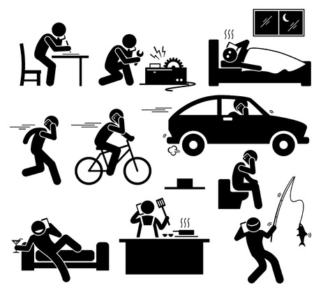 using smartphone: Talking on Cellphone Phone While Doing Something Stick Figure Pictogram Icons Illustration