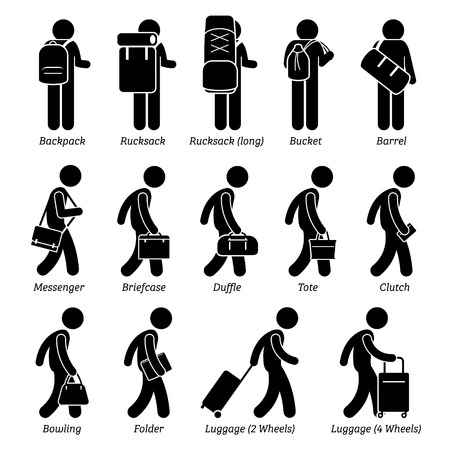 Man Male Bags and Luggage Stick Figure Pictogram Icons Vettoriali