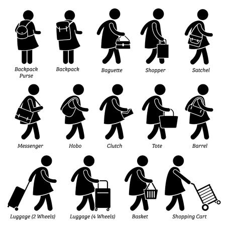 figura humana: Mujer Mujer Monedero Monedero y bolsos Equipaje Figura Stick pictograma Iconos