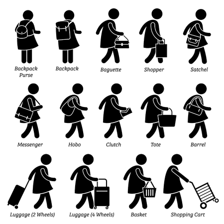 big figure: Woman Female Bags Purse Wallet and Luggage Stick Figure Pictogram Icons