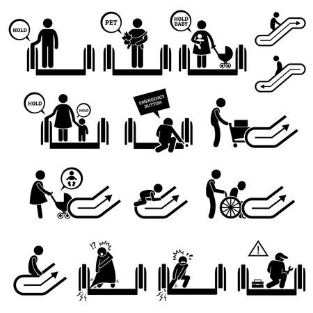 pictogramme: Escalator signes avant-coureurs et symboles pictogrammes Icons