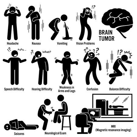 concepto equilibrio: Los s�ntomas del c�ncer de cerebro tumor Causas Factores de riesgo Diagn�stico Figura Stick pictograma Iconos