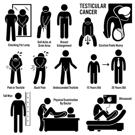 Testicular Testicles Testes Cancer Symptoms Causes Risk Factors Diagnosis Stick Figure Pictogram Icons Vectores