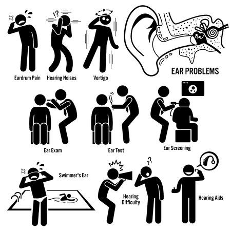 Diagnóstico del oído Examen Figura Stick pictograma Iconos Ilustración de vector