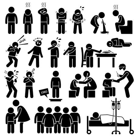 děti: Děti nevolnosti nemoc špatného nemoc nemoc chřipka zdravotní problém Stick Figure Piktogram Ikony Ilustrace