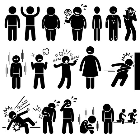 overweight kid: Children Health Physical and Mental Problem Syndrome Stick Figure Pictogram Icons